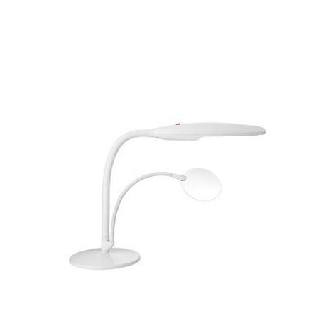 Swan - Lampada da tavolo bianca con lente 1,75 X