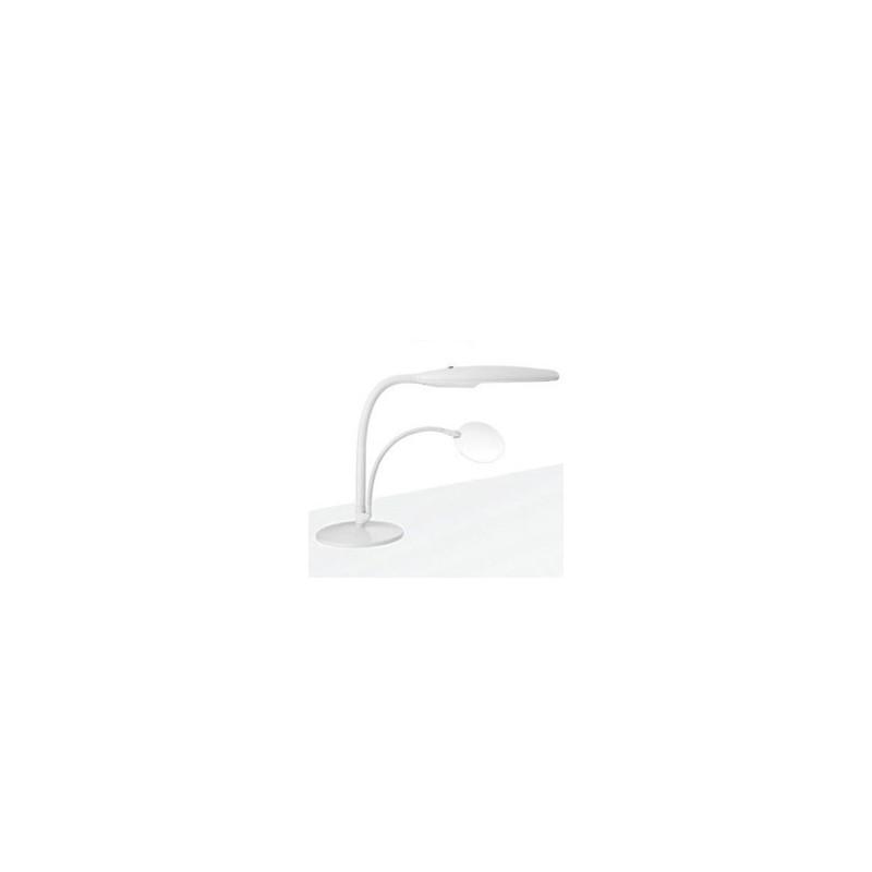Lampada da tavolo bianca con lente 1,75X